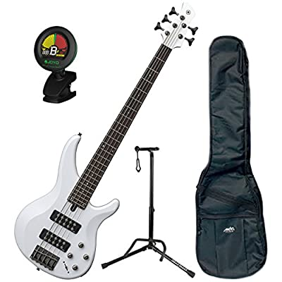 Yamaha TRBX305 WH TRBX-305 White 5 String Bass Guitar w/ Gig Bag, Stand, and Tuner