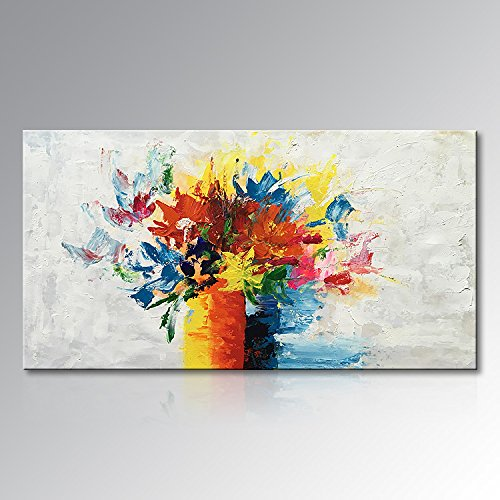 Seekland Art Modern Flower Canvas Wall Art Hand Painted Abstract Artwork Floral Large Oil Painting Home Decor Pictures for Living Room No Frame (80''W x 40''H) by Seekland Art