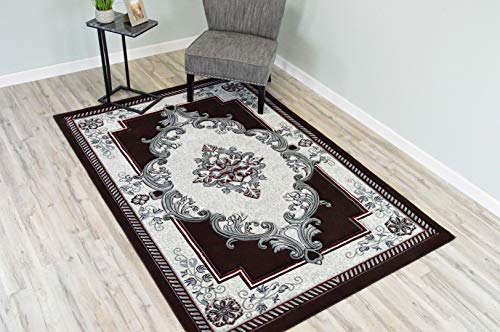 Glamour Design 3D Effect Hand Carved Traditional Oriental Floral Rug 5'2''x7'5'' Burgundy Grey by ArtistryRugs