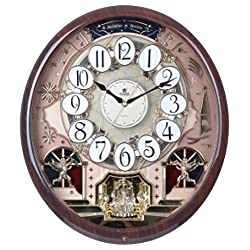 PWR Musical Motion Wall Clock   Melodies and Moving Face   Color: Dark Woodgrain and Gold with Crystal   Sound and Movement   Music: Classic, Christmas, Theraputic