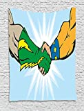 asddcdfdd Superhero Tapestry, Heroes Handshake Teamwork Togetherness Friendship Partners Success Artful Concept, Wall Hanging for Bedroom Living Room Dorm, 60 W X 80 L Inches, Multicolor