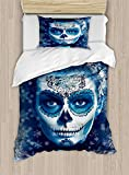 Sugar Skull Duvet Cover Set,Santa Muerte Concept Winter Season Ice Cold Snowflakes Frozen Dead Folkloric,Cosy House Collection 4 Piece Bedding Sets