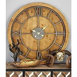 Benzara Antique Colonial Stylish Wood Metal Wall Clock, 40 Diameter, Natural Brown