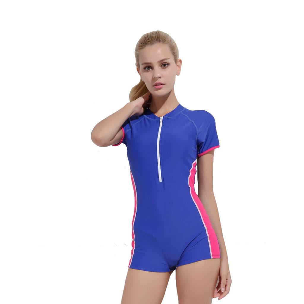 YEZIJIN Women Swimsuit Sexy One Piece Bodysuit Swimwear Professional Sport Bathing Suit Wetsuit top Long/Short Sleeve Blue