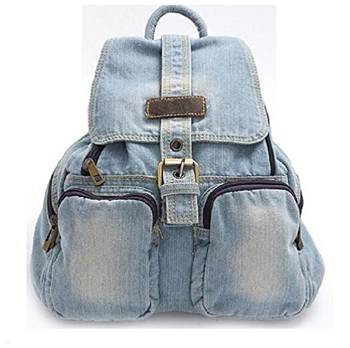 (Fashion Women backpack vintage backpacks for teenage girls casual school campus bags travel backpack female mochila (light blue))