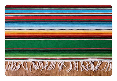 Welcome Door Mats Indoor Non Slip Entrance Rug Mat, Boho Serape Blanket with Horizontal Stripes and Lines Authentic Cultures, Kitchen Floor Cover Bathroom Carpets Absorbent Bath Area Rugs 18 x 30 inch