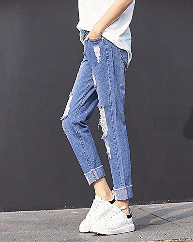 Fidanzato Blu Stile A Donna Alta Buco Pantaloni Vita Denim Jeans Baggy Larghi 7twOxqPZO