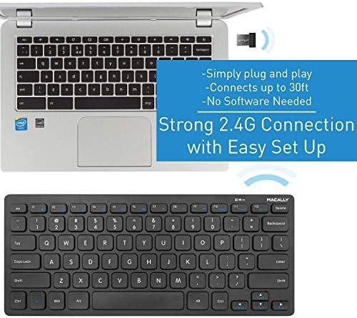 Macally 2.4G Mini teclado inalámbrico – ergonómico y cómodo – pequeño teclado para ordenador portátil o Windows PC, tableta, Smart TV – Plug & Play Teclado compacto 12 teclas de acceso rápido multimedia 9