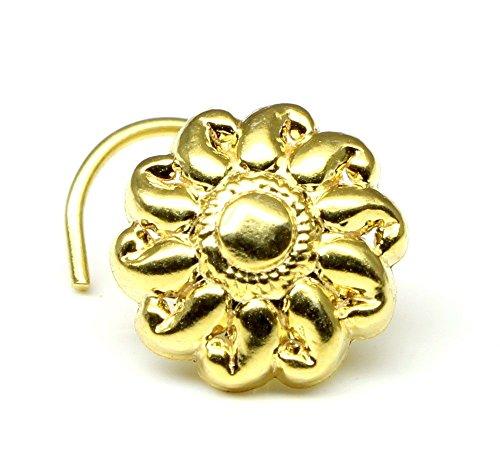 Karizma Jewels Ethnic Indian nose Ring, piercing nose ring, Asian gold plated nose ring (Left Nostril)