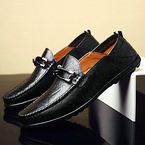 Toe Mocasines Negro Xianshu Casual Zapatos Round Ponerse 8HFxqU5