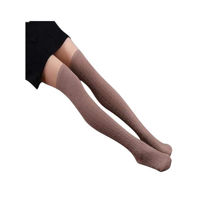 DOGZI Mujer Calcetines de tubo largo por encima de la rodilla 1 par de mujeres de algodón de punto sobre rodilla media patrón espiral calcetines altos: ...