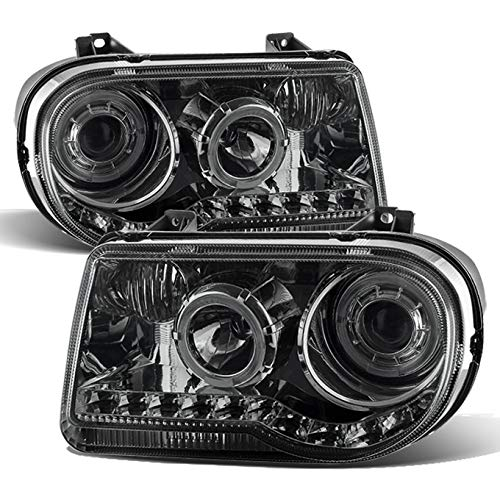 300 Assembly Headlight Chrysler - For 2005-2010 Chrysler 300C Smoked Smoked Dual Halo Ring DRL Daylight LED Strip Halogen Type Projector Headlights