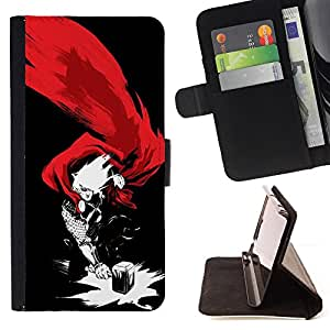 THOR & HAMMER SUPERHERO - Painting Art Smile Face Style Design PU Leather Flip Stand Case Cover FOR HTC One M9 @ The Smurfs