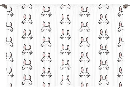 [Ambesonne Girls Boys Nursery Kids Animal Decor Collection, Abstract Animal Art Print Cute Bunny Repeat Design Print, Window Treatments for Kids Bedroom Curtain 2 Panels Set, 108X63 Inches] (Bunny Window)