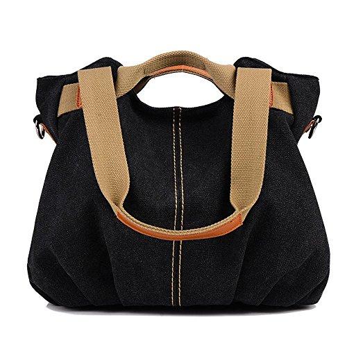 Aoligei Toile sac féminin mode rétro centaines tour épaule besace cabas grand mode F