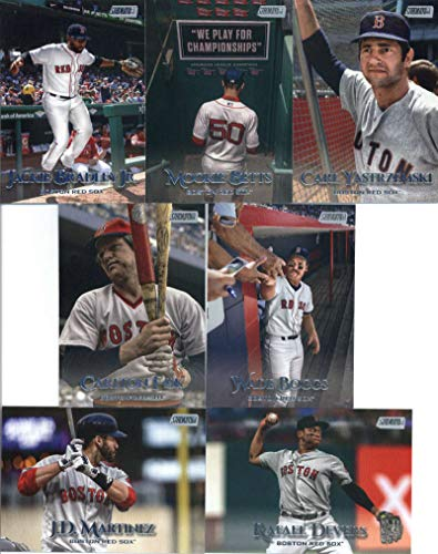 (2019 Topps Stadium Club Baseball Boston Red Sox Team Set of 15 Cards: Mookie Betts(#1), David Price(#9), Andrew Benintendi(#11), Ted Williams(#13), Jackie Bradley Jr.(#17), J.D. Martinez(#36), Rafael Devers(#39), Dustin Pedroia(#63), Carl Yastrzemski(#68), Chris Sale(#76), Xander Bogaerts(#85), Wade Boggs(#99), Carlton Fisk(#208), Craig Kimbrel(#270), David Ortiz(#281))