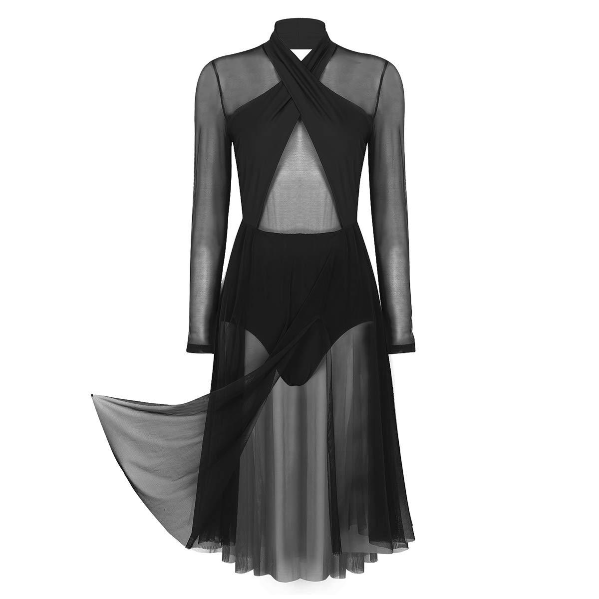 dPois Womens Adults Mesh Halter Neck Leotard Warp Dress Lyrical Modern Contemporary Dance Costume