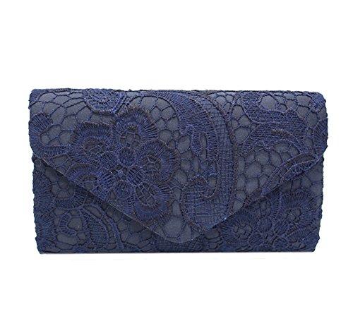 Bridal Purse Bridesmaid Women Evening blue Bags Bag Envelope Clutch Wedding Lace CHqYPw5Rnw