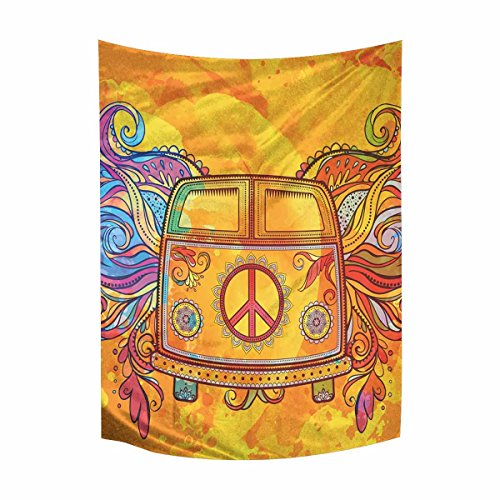 InterestPrint Hippie Vintage Car a Mini Van with Peace Sign Tapestry