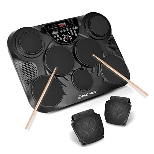 PylePro Portable Drums, Tabletop Drum Set, 7 Pad Digital Drum Kit, Touch Sensitivity, Wireless Electric Drums, Drum Machine, Electric Drum Pads, LED Display, Mac & PC (PTED01) ()