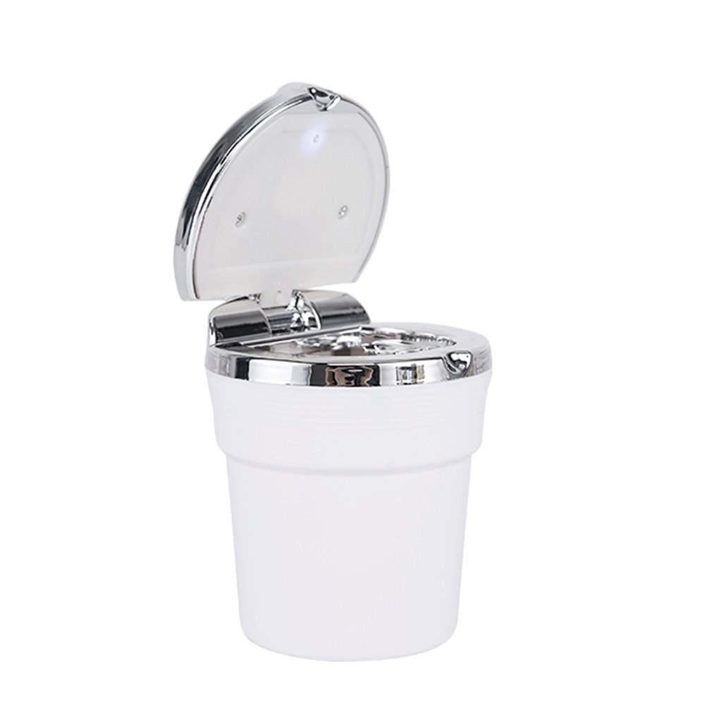 Junson Cigarette Ash Holder, Portable Auto Car Smokeless Stand Cylinder Cup Holder Cigarette Ashtray with Blue LED Light Multi-Functional Vehicle Ashtrayashtray for Car with Holder (Color : White)