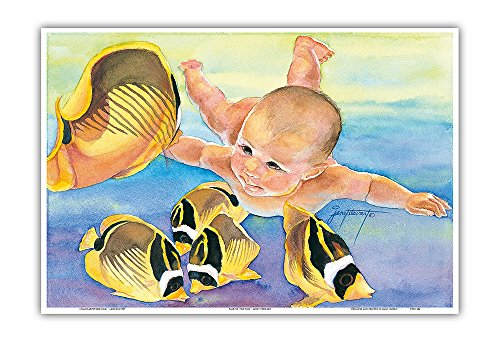 (Talk to the Fish - Hawaiian Baby (Keiki) Swims with Racoon Butterfly (Kikakapu Kapuhili) Fishes - Original Watercolor Painting by Janet Stewart - Hawaiian Master Art Print - 13 x 19in)
