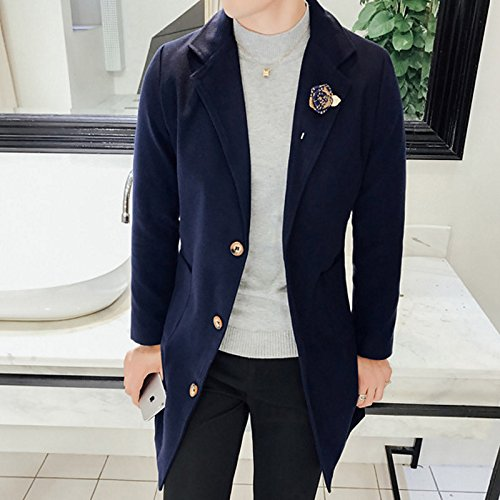 Smooth navy Solid Men Coat Lemumu Winter Shirt Chunky Sleeve Sleeve Chinoiserie Collar Trench blue Casual Long Daily Long Cotton TxwwB