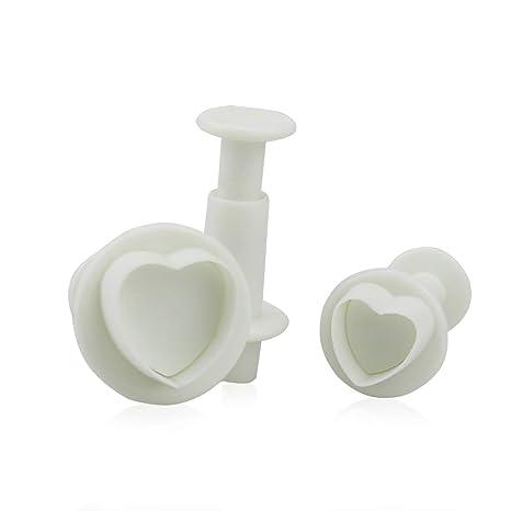 Isuper 3 Piezas en Forma de corazón del Molde de plástico para Pasteles, Hornear,