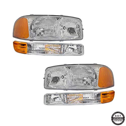 Replacement Headlight Assembly and Signal Marker Lamps GGMSR99-A4 with Chromed Housing Amber Reflector Clear Lens for GMC Sierra 06-99 GMC Yukon 06-00 Yukon XL Pickup Truck