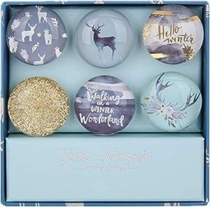 "Blue Deer Fridge Magnets Round Glass Magnets for Decorative Refrigerator, Dry Erase Board, Whiteboard Calendar Maps, 30mm(1.18"") 6pcs/pack (Blue Deer Theme)"
