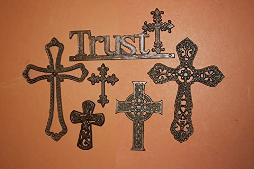 Amazon Com Cast Iron Home Decor Collectibles Trust Wall Cross Collection Christian Wall Crosses Bundle Of 6 Home Kitchen