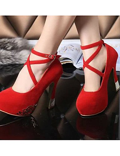 Eu35 us5 tacones 5 negro Cn40 Zapatos 5 Uk3 Red tacones Mujer Uk6 Red Cn34 us8 casual Stiletto Eu39 De tac¨®n Rojo vell¨®n Zq X4wRHxgqq