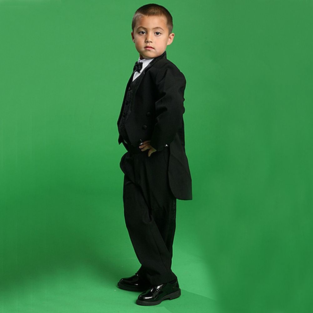 Angels Garment Toddler Little Boys Black Classic Tuxedo 5 Pc Set 6M-20