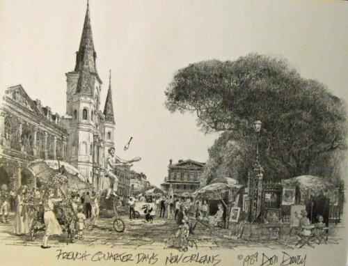 - French Quarter Days Don Davey New Orleans Matted Art Print Famous Street Scene 1989