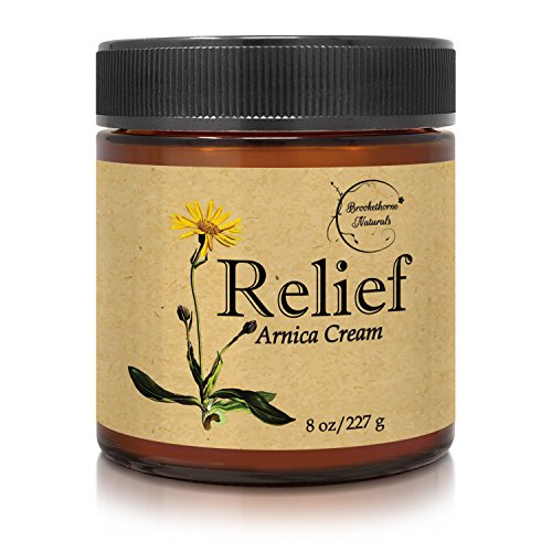Relief Arnica Cream - Enriched with Lemongrass, Eucalyptus & Rosemary Essential Oils - All Natural Massage Lotion for Sore Muscles & Stiffness. Perfect for Massage Therapy by Brookethorne Naturals ()