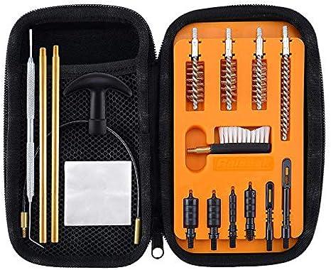 BOOSTEADY Limpieza Kit para Pistola de .22.357.38,9mm.45 Calibre Kit de Limpieza Cepillo y Jag con 50 unids Parches de Limpieza de la Pistola en Organizador Compacto con Cremallera