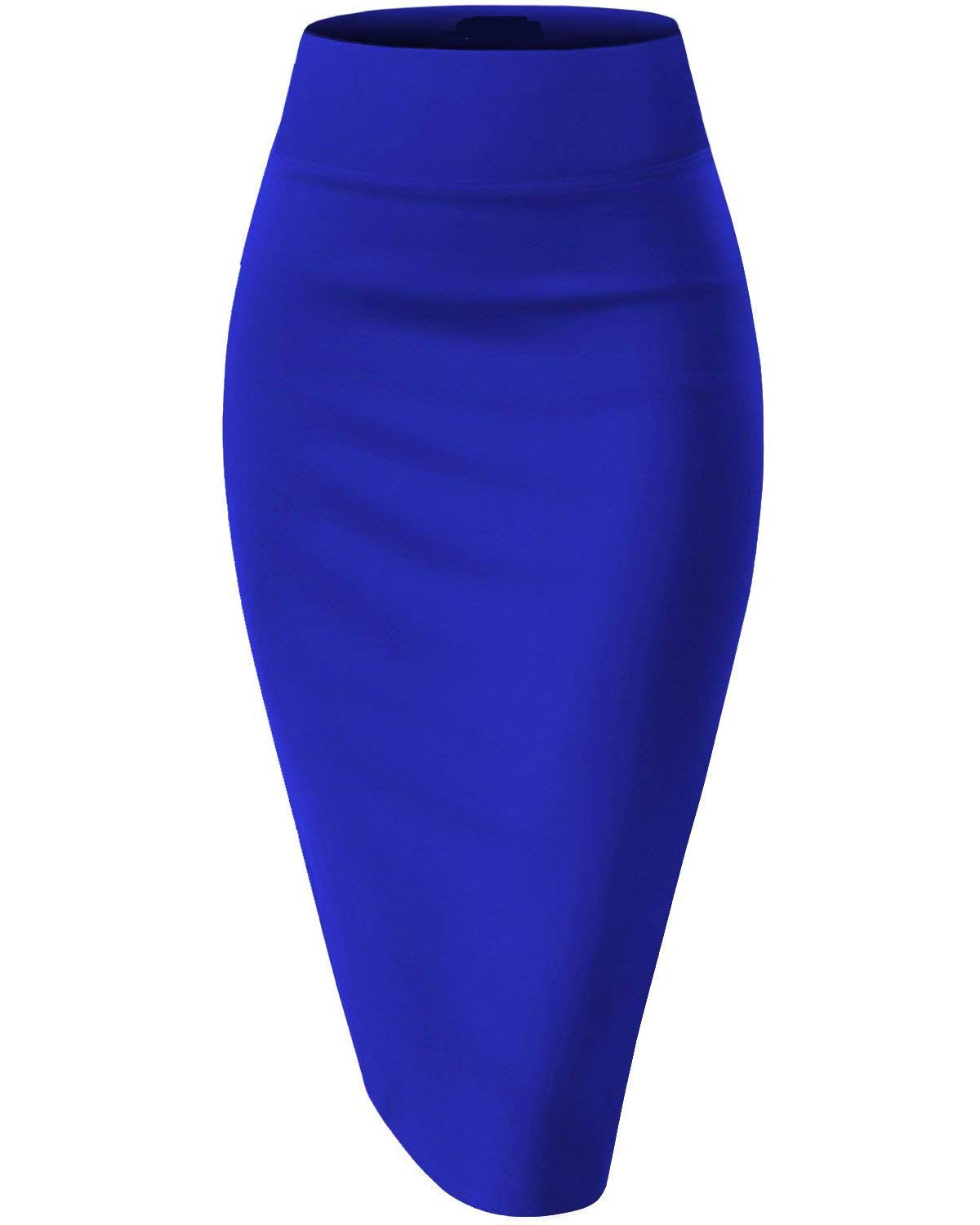 KENANCY Women's High Waist Bodycon Long Skirt Knee Length Pencil Skirts Casual Solid-Blue-Large