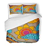 Emvency Bedding Duvet Cover Set Full/Queen Size (1 Duvet Cover + 2 Pillowcase) Colorful Abstract Ethno Pattern Tribal and Others African Style Hand Zen Africa Boho Hotel Quality Wrinkle