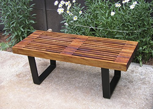 Mid Century Modern Mahogany, George Nelson Style Garden Bench. Thru-Bolted, Platform Bench, Trapezoid Legs. Noguchi. Slatted Bench