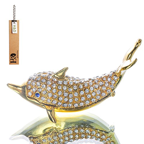 Dolphins Enameled Crystal Trinket Box Hinged Ring Holder Small Jewelry Bejeweled Trinket Boxes Animal Figurine Collectible Decoration (Crystal Dolphins Figurine)
