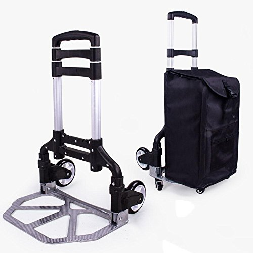 LUCKYYAN Multifunction Lightweight Aluminum alloy Folding Luggage Carts, Portable 6 Wheel Trolley with Removable Black Shopping Bags by LUCKYYYAN