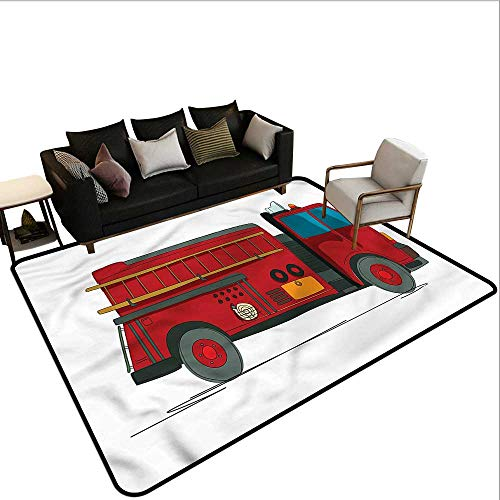 Fire Truck Hooked Rug - 6