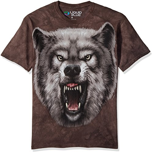 Liquid Blue Men's Nature Roaring Wolf Tie Dye Short Sleeve T-Shirt, Multi, 2XL