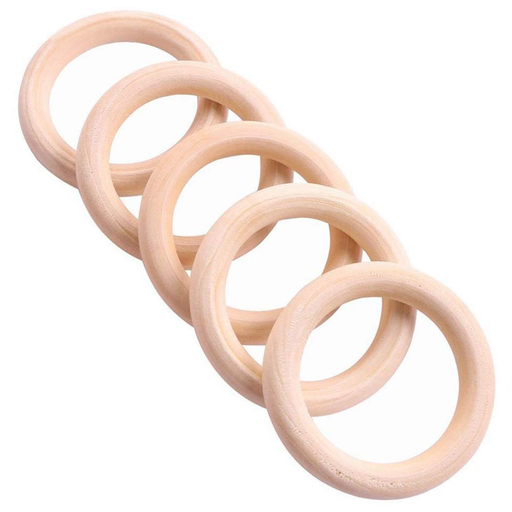 SODIAL 5X Wooden Ring for Crafting DIY Craft Jewelry Making 25mm