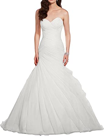 Victoria Prom Mermaid Bride Gowns Tulle Strapless Long Wedding Dresses Ivory us2