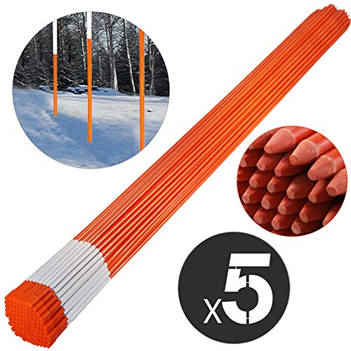 Mophorn Driveway Marker 5/16-inch Diameter x 48-inches Snow Stakes Orange with Reflective Tape 500-Pack with Orange Cap Fiberglass Pole Stakes for Easy Visibility at Night (Plow Easy)