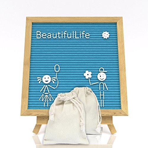 Letter Board - Felt Board - Blue Message Board - Blue Felt Letter Board - 10X10 - Set Changeable Letter Board - 521 Letters Numbers & Symbols - Felt Message Board with Letters