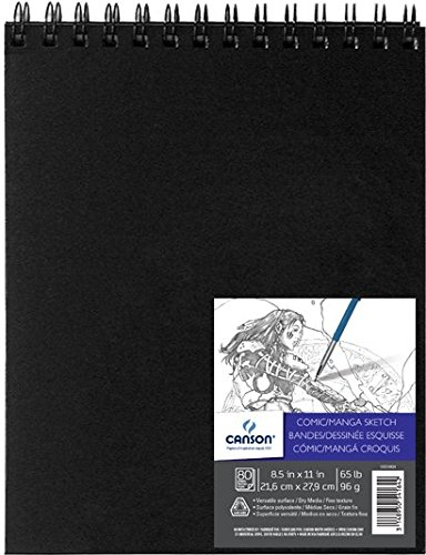 Canson Comic Manga Sketch Art Book Paper Pad, Top Wire Bound, 65 Pound, 8.5 x 11 Inch, 80 (Manga Sketch Pad)