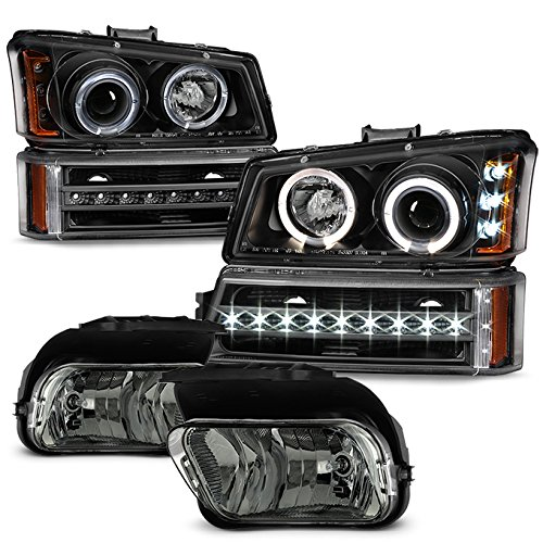 For 2003-2006 Chevy Silverado Black LED Halo Head Lights Pair + LED DRL Signal Lamps + Smoked Fog Lights