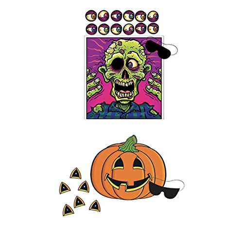 Just4fun Two (2) Fun HALLOWEEN PARTY GAMES - Pin the Nose on the PUMPKIN & Eyeball on the ZOMBIE - Classroom ACTIVITIES Scouts by Just4fun
